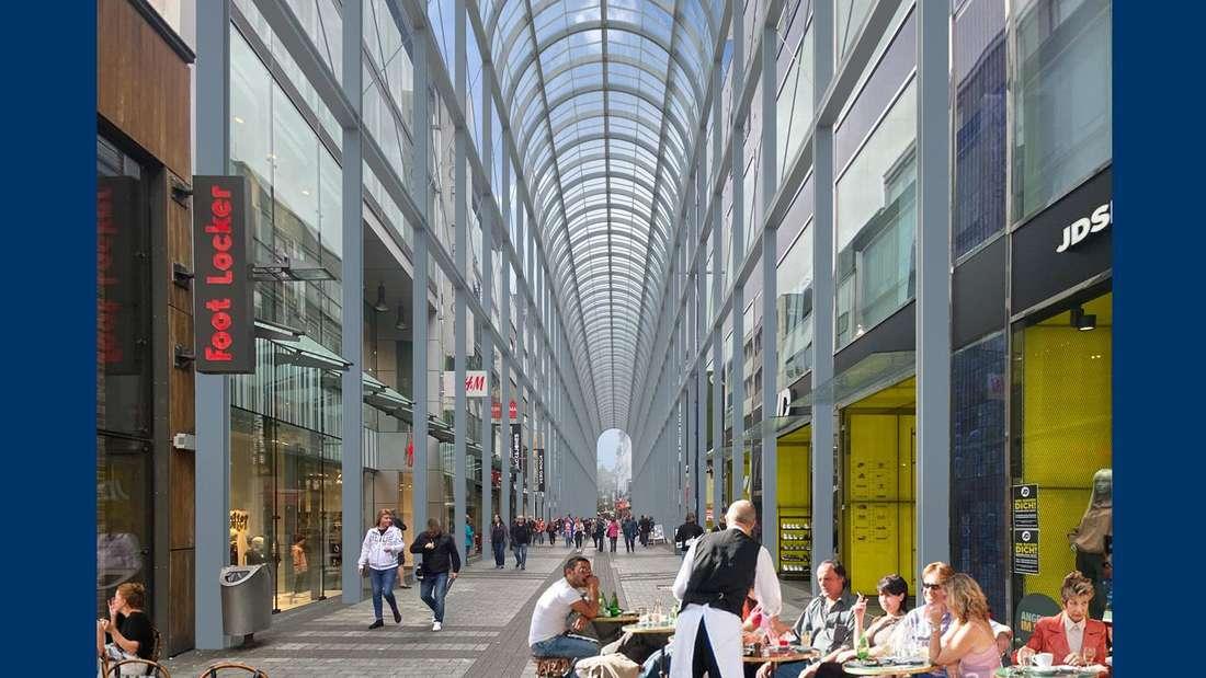 Visualisierung: Glasdach an der Hohe Straße in Köln.