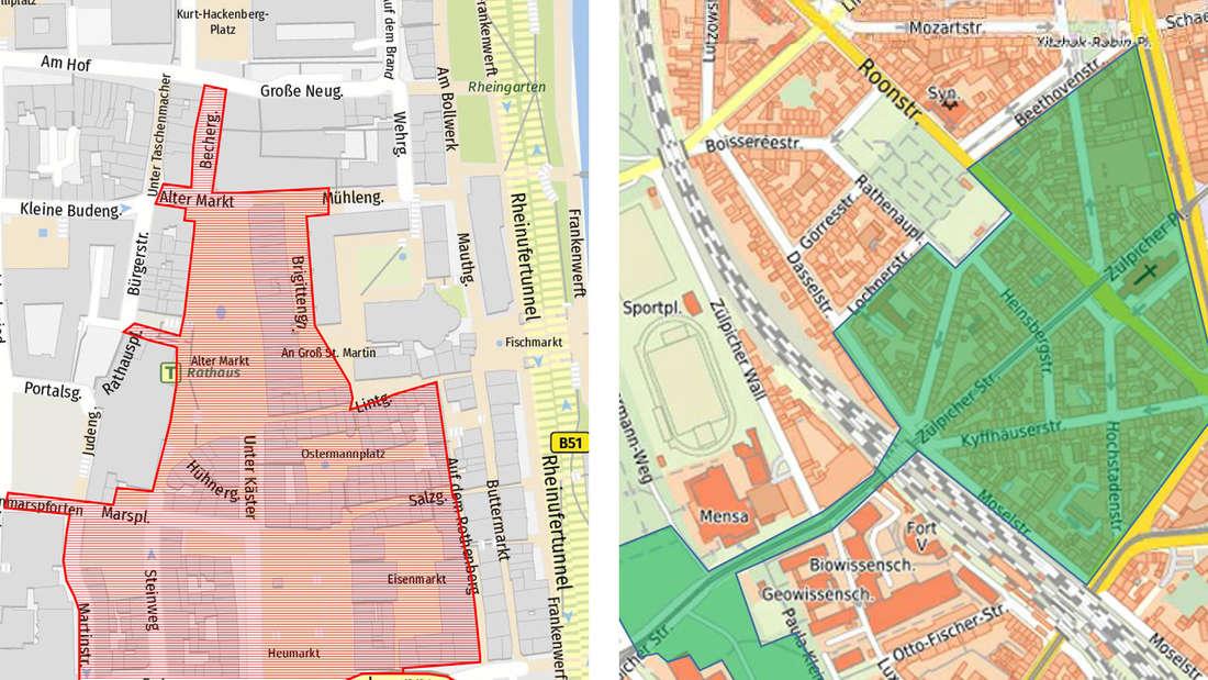 Eine Karte vom Altermarkt und vom Kwartier Latäng mit einer eingezeichneten Fläche, wo das 3G-Prinzip gilt.