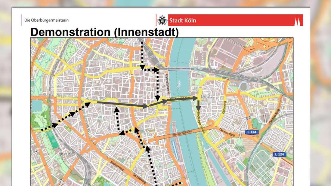 Eine Karte von Köln in der die Demonstrationen eingezeichnet sind.