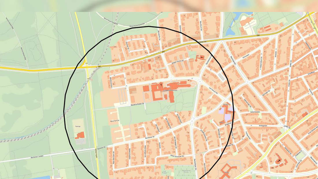 Eine Karte der Stadt Köln mit einem schwarzen Kreis.