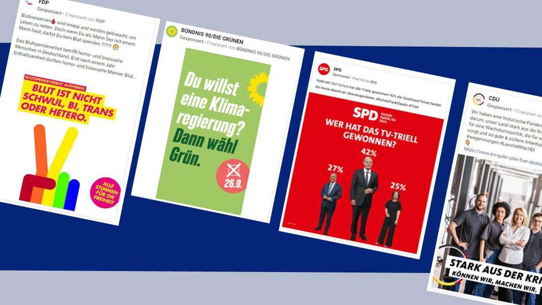 Social Media Anzeigen von FDP, Grüne, SPD und CDU
