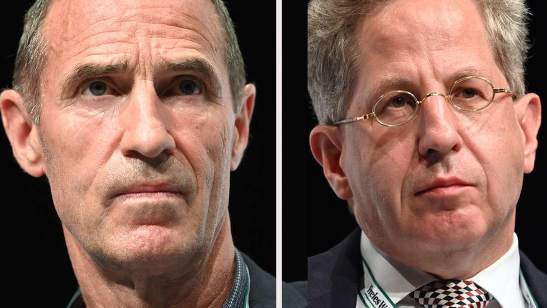 Die Bundestagskandidaten Frank Ullrich von der SPD und rechts Hans-Georg Maßen von der CDU