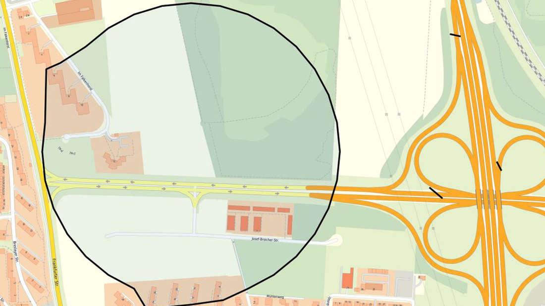 Der eingezeichnete Gefahrenbereich in Porz EIl auf einer Karte.