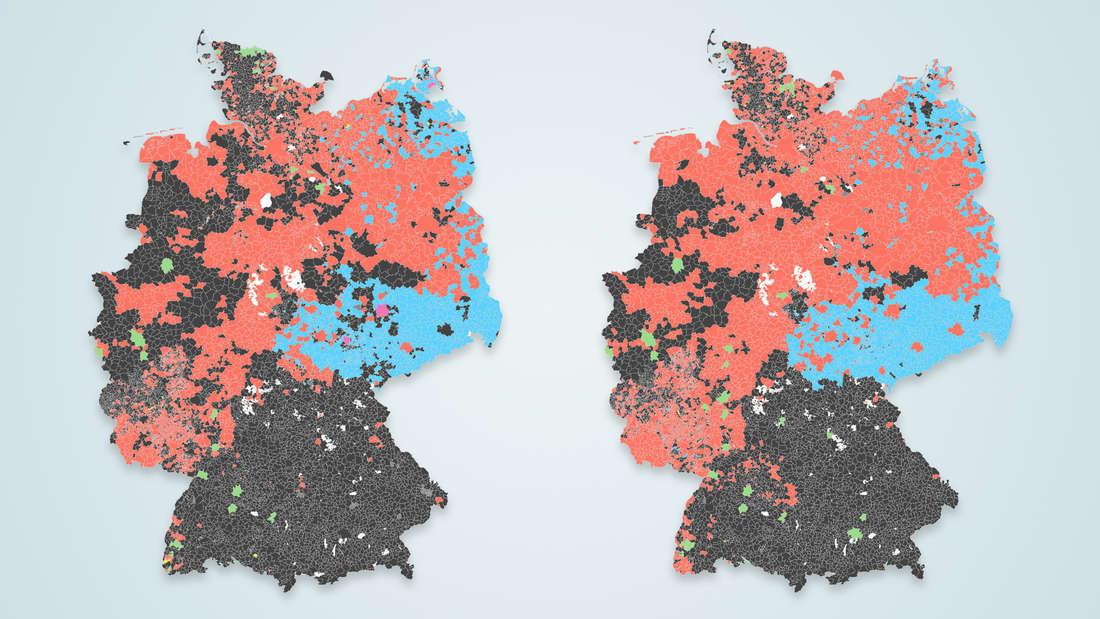 Zwei Karten von Deutschland, die die Erst- und Zweitstimmergebnisse aller 11.000 Gemeinden bei der Bundestagswahl 2021 zeigen.