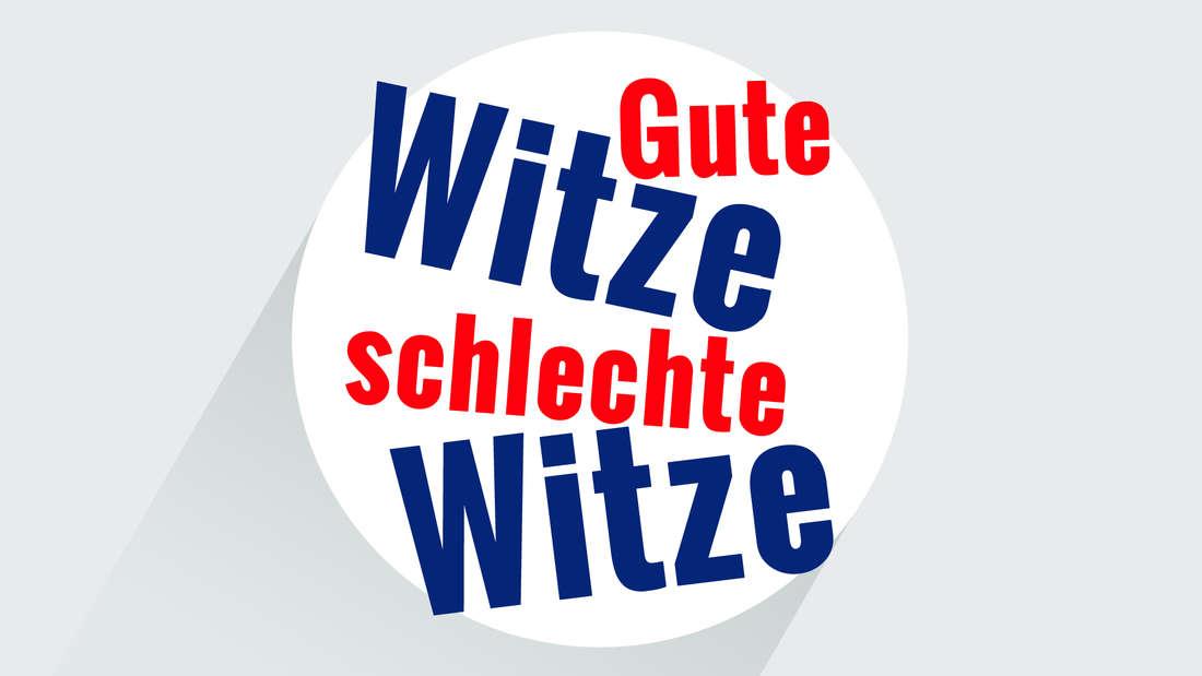 """Ein Logo in rot und blau und dem Schriftzug """"Gute Witze, schlechte Witze""""."""