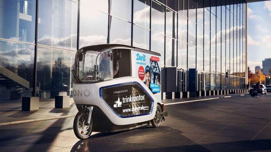 """Ein ONO E-Cargobike von Onomotion für den Getränkelieferant """"Durst"""" in Köln."""