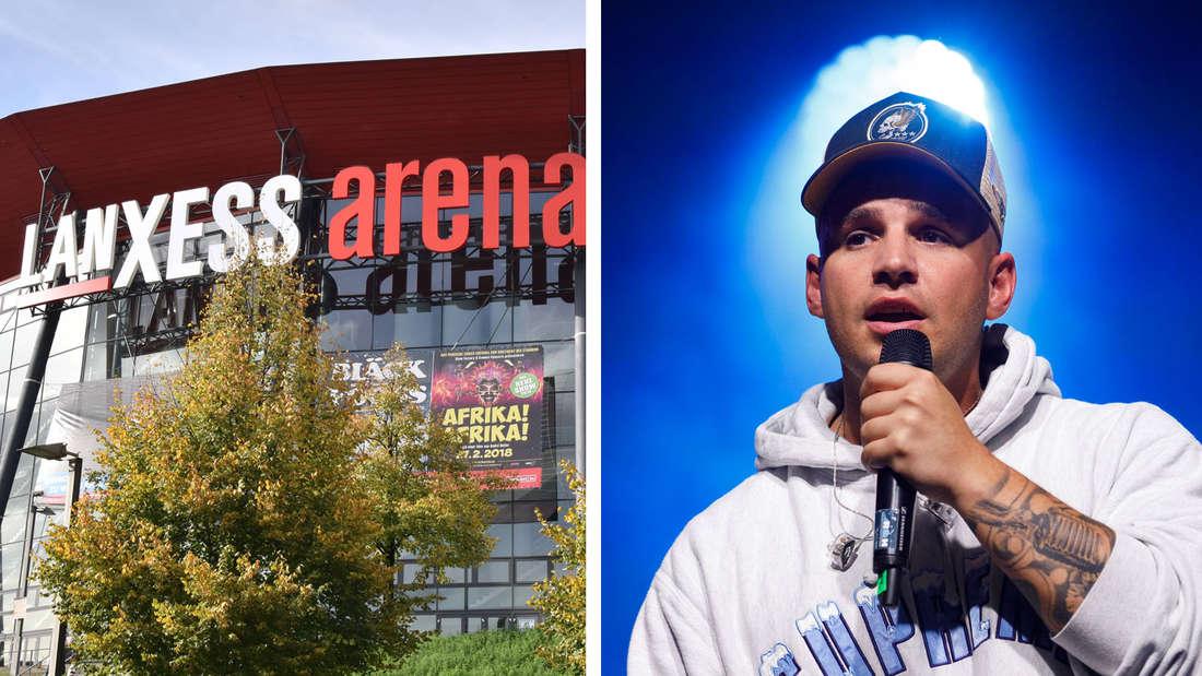 Rechts: Das Gebäude Lanxess-Arena in Köln Deutz / Links: Pietro Lombardi während eines Auftritts.