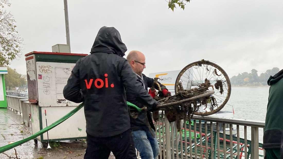 Ein VOI-MItarbeiter und ein weiterer Mann ziehen ein Rad aus dem Kölner Rhein.